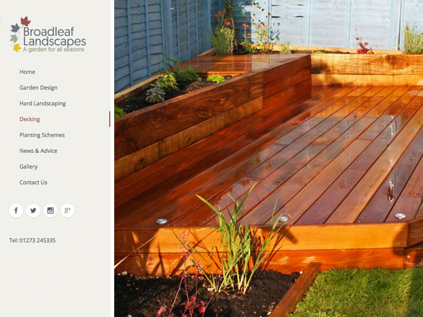 Broadleaf Landscapes Decking Page Design