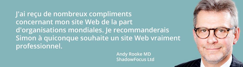 Conception du site Web pour le directeur général de Andy Rook, ShadowFocus Ltd